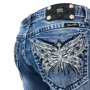 Miss Me Jeans Butterfly Stitch Distressed Denim 31